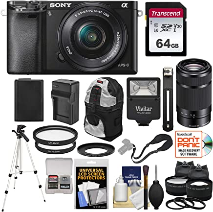 $729 Get Sony Alpha A6000 Wi-Fi Digital Camera with 16-50mm & 55-210mm Lens (Black) with 64GB Card + Battery/Charger + Flash + Backpack + Tripod + 2 Lens Kit