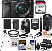 Sony Alpha A6000 Wi-Fi Digital Camera with 16-50mm & 55-210mm Lens (Black) with 64GB Card + Battery/Charger + Flash + Backpack + Tripod + 2 Lens Kit