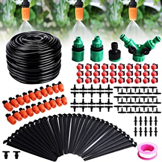 Fixget Drip Irrigation Kit, 100ft/30M Adjustable Garden Automatic Irrigation System Kits with DIY Plant Garden Hose Watering Kit Irrigation for Landscape, Flower Bed, Patio Plants