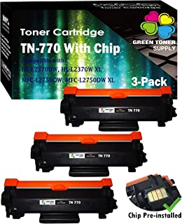 (Black, Pack of 3) Compatible TN-770 TN770 Toner Cartridge Replacement, for Brother HL-L2370DW HL-L2370DWXL MFC-L2750DW MFC-L2750DWXL, Sold by GTS (Value-Pack, Super High Yield)