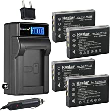 Kastar 4-Pack FNP-120 Battery and LCD AC Charger Compatible with FUJIFILM NP-120, NP-120B, FNP120, Toshiba NP-120, PX1657, PENTAX D-LI7, RICOH DB-43, CONTAX BP-1500S, KYOCERA BP-1500S Battery