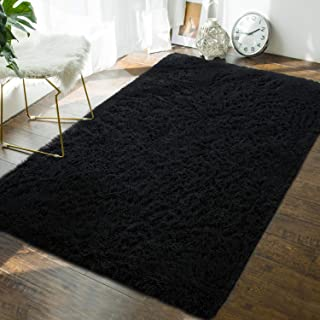 Soft Fluffy Bedroom Area Rugs - 4 x 6 Feet Indoor Modern Shaggy Plush Rug for Boys Kids College Dorm Living Room Home Decor Luxury Solid Accent Floor Carpet by AND BEYOND INC, Black
