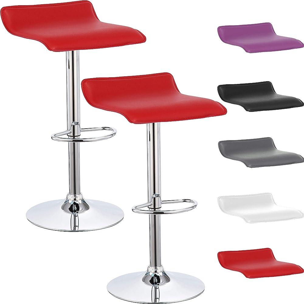 Beltom, 2 sgabelli con penisola, regolabili in altezza, sedia girevole, struttura in acciaio cromato GSTD_X2-Red