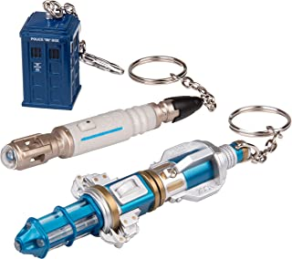 SCS Direct Doctor Who Keychain 3-Pack - Includes Diecast Tardis and 10th and 12th Doctor Sonic Screwdriver Flashlights - Collectible Dr. Who Key Chains