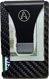 RFID Blocking Carbon Fiber Minimalist Wallet and Money Clip by ARGENT - Slim Credit Card Holder - Front Pocket ID Case