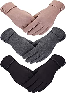 Patelai 3 Pairs Women Winter Gloves Warm Touchscreen Gloves Windproof Plush Gloves for Women Girls Winter Using