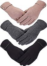 Patelai 3 Pairs Women Winter Gloves Warm Touchscreen Gloves Windproof Gloves for Women Girls Winter Using