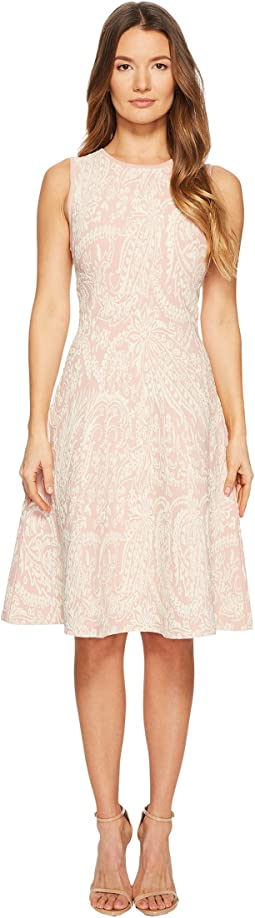 Zac Posen - Knitted Jacquard Short Sleeve Fit and Flare Dress