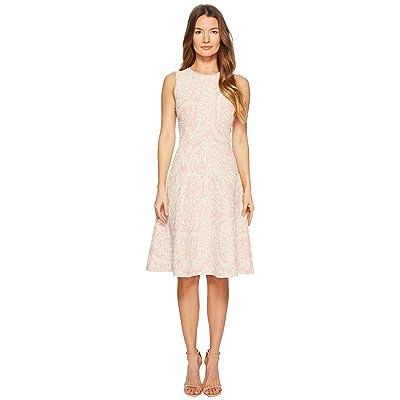 Zac Posen Knitted Jacquard Short Sleeve Fit and Flare Dress (Blush/Ivory) Women