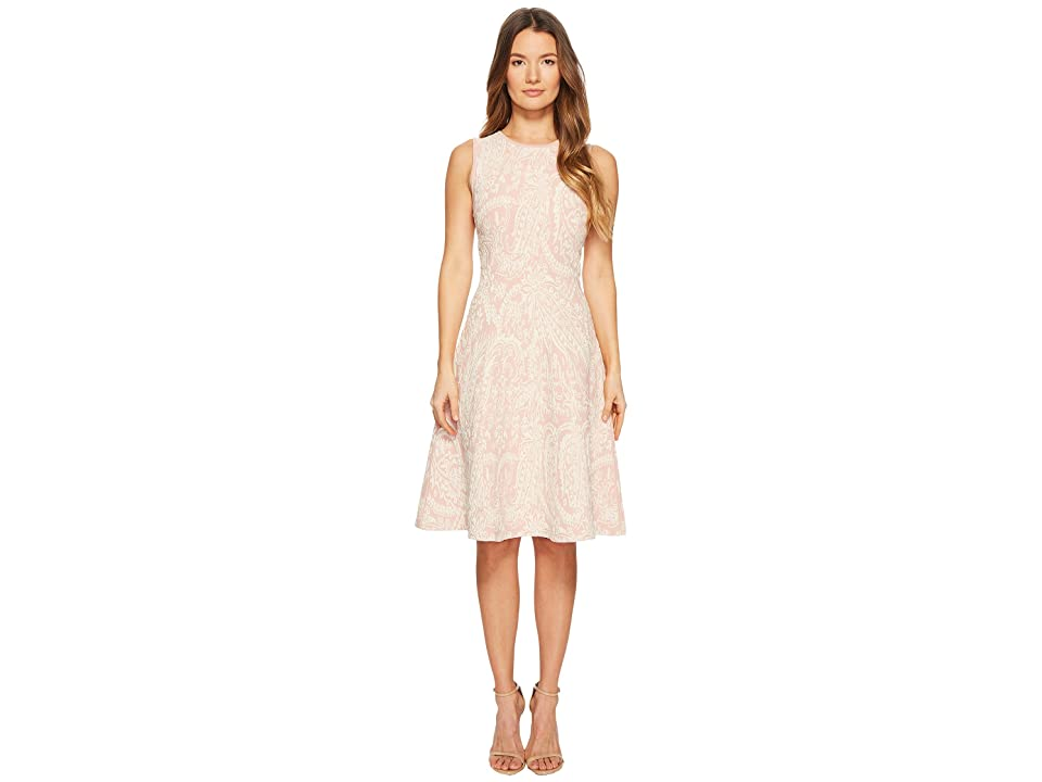 Zac Posen Knitted Jacquard Short Sleeve Fit and Flare Dress (Blush/Ivory) Women