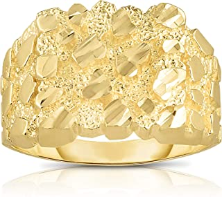 Floreo 10k Yellow Gold 14.8mm Square Nugget Ring All Sizes