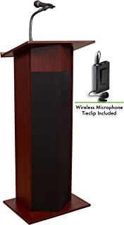 Oklahoma Sound 111PLS-MY/LWM-6 Power Plus Lectern & Tie Clip Mic, Mahogany