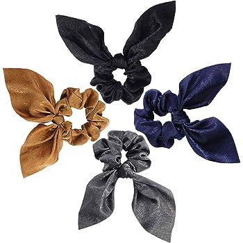 4 Pacchi Scrunchies Elastici Porta Coda di Cavallo in Chiffon Bobbles Fasce per Capelli Elastiche Morbide Cravatte per Accessori Donna (Colore Scuro)