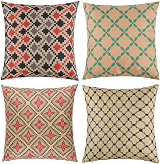 "Tosewever Set of 4 Decorative Geometric 18 x 18 Inches Multicolor Throw Pillow Covers - Modern Pattern Linen Square Pillow Cushion Case for Sofa Couch Bed Home Outdoor Car (18"" x 18"", Multi)"