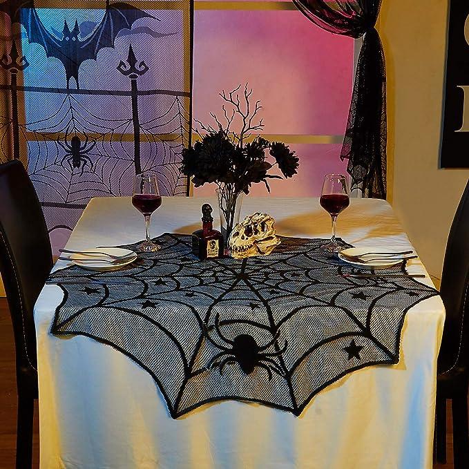 Halloween Theme Fire Towel Spider Web Bat Short Black Lace Door Curtain Decor