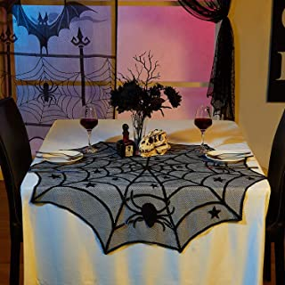 VIGLT Round Lace Table Topper, Black Spider Halloween Lace Table Topper Cloth for Halloween Decorations 40-inch