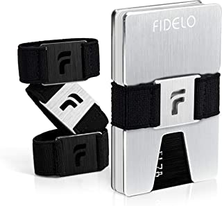 FIDELO Minimalist Wallet for Men - Slim Credit Card Holder Money Clip - RFID Blocking Front Pocket Mens Wallets