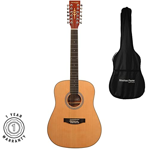 76daaa8152a Stretton Payne Dreadnought 12 String Acoustic Guitar Spruce and Mahogany  with 3mm Padded Gig Bag