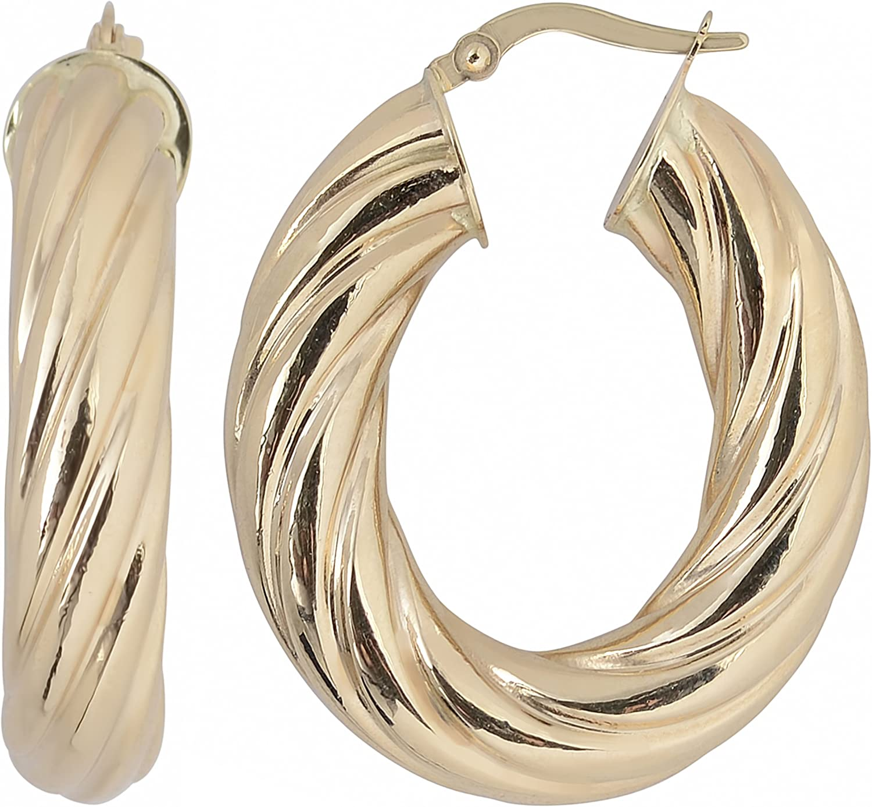 Classic Austin Mall Kooljewelry 10k Yellow Gold Swirl Hoop Earrings Oval Design