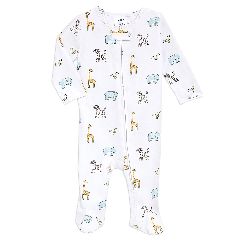 aden + anais Baby Comfort Knit Footie One Piece – Onesie Footie Pajamas for Babies – Newborn & Infant Long Sleeve Union Suit – Super Soft Cotton Muslin Footie PJ's, Jungle Jammin, 6-9M