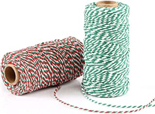 Naler 2 Rolle Baumwollschnur Bastelschnur Bakers Twine Schnur Garn Bindfäden Kordel für Kindertag Geschenkverpackung Weihnachten Adventskalender Basteln, 2 mm, 100 m