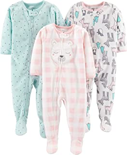 Baby and Toddler Girls' 3-Pack Loose Fit Fleece Footed...