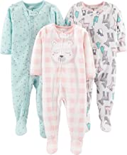 Simple Joys by Carter's Baby and Toddler Girls' 3-Pack Loose Fit Fleece Footed Pajamas