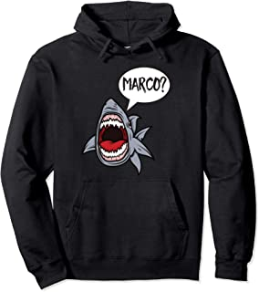 Funny Hungry Great White Shark Playing Marco Polo Graphic Pullover Hoodie