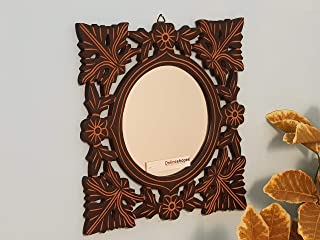 Onlineshoppee Hand Carved Wood Wall Mirror (22 cm x 2 cm x 27 cm, Black, AFR1897)