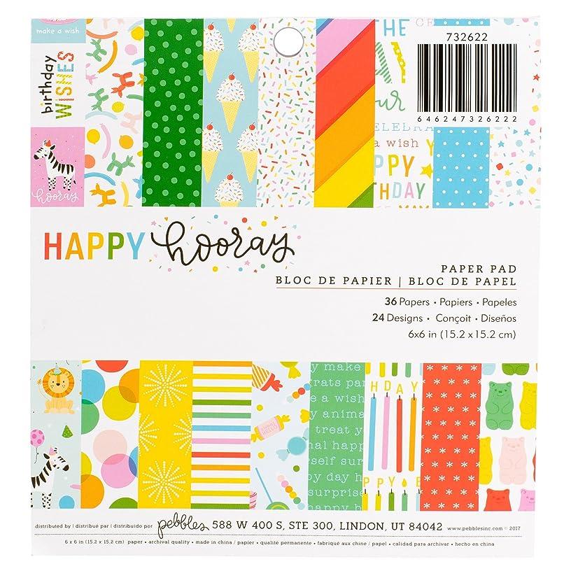 American Crafts 36 Piece 6 x 6 Inch Paper Pad Pebbles Happy Hooray