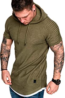 Mens Casual Sweatshirts - Sport Sweatshirt Solid Color Pullover Athletic Hoodies Short Sleeve Plain Top Work Sports Tee