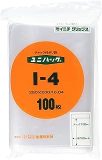 生産日本社 ユニパック(チャック付ポリ袋) I-4 ポリエチレン 日本 (100枚入) AYN0807