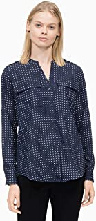 Calvin Klein Women's Printed Split Neck Roll Sleeve Blouse