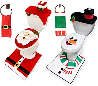 10 Pieces Christmas Santa and Snowman Themes Bathroom Decoration Set w/Toilet Seat Cover, Rugs, Tank Cover, Toilet Paper B...