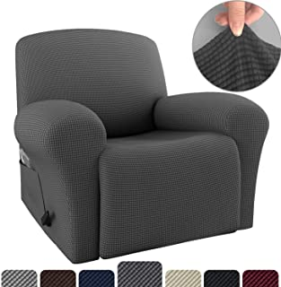 Rose Home Fashion RHF 4 Separate Piece Stretch Recliner Slipcovers, Recliner Chair Cover, Recliner Cover Furniture Protector Elastic Bottom, Recliner Slipcover with Side Pocket (Darkgray-Recliner)