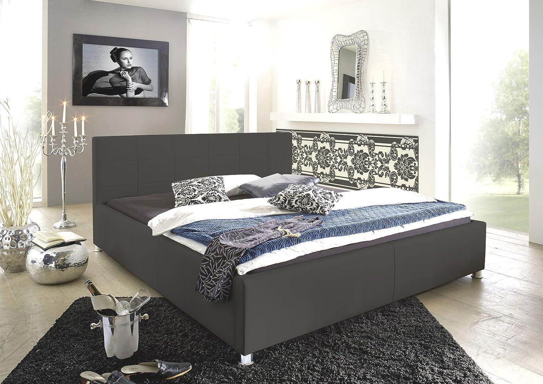 SAM Kinderbett 100x200 cm Katja, Jugend- Polsterbett gesteppt, grau, chromfarben Füe komfortabel modisch schlicht