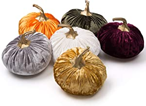 Ogrmar Set of 6 Pack Handmade Velvet Pumpkins Decor,Super Soft Stuffed Pumpkin with Exquisite Craftsmanship for Fall Halloween Thanksgiving Decoration