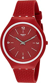 Swatch Womens Quartz Watch, Analog Display and Silicone Strap SVUR101, red