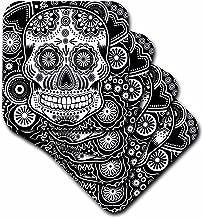 3dRose CST_201651_2 Geometric Sugar Skull Soft Coasters, (Set of 8)