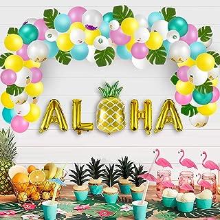 Luau Party Supplies - Hawaiian Decorations Set 96pcs Aloha Banner/Tropical Leaves/Confetti Balloon Arch/Drinking Straws - Flamingo Pineapple Summer Beach Pool Backdrop