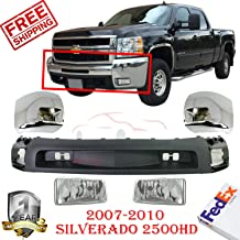 New Front Bumper Ends Chrome Primed Left Hand & Right Hand Side w/Fog Light Holes + Fog Lamp Lower Valance Air Deflector Textured Black For 2007-2010 Silverado 2500DH 3500 Direct Replacement Set Of 5