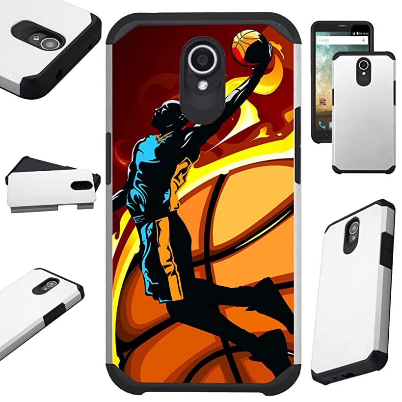Compatible Cricket Vision (2018) Case Hybrid TPU Fusion Phone Cover (Basketball Jump)