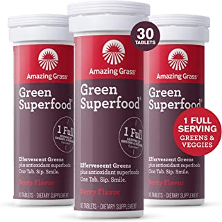 Amazing Grass Effervescent Tablets: Green Superfood Water Flavoring Tablet with Antioxidants & Alkalizing Greens, Berry, 3...