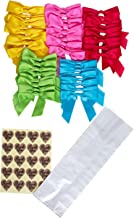 Treat Bags Clear Plastic Cello Type 50 Party Favor Bag with 50 Twist Ties Bows and 50 Thank You Stickers You can use Them as a Goodie Bag or Fill with Candy Buffet Cookie Bread (5x3x15)