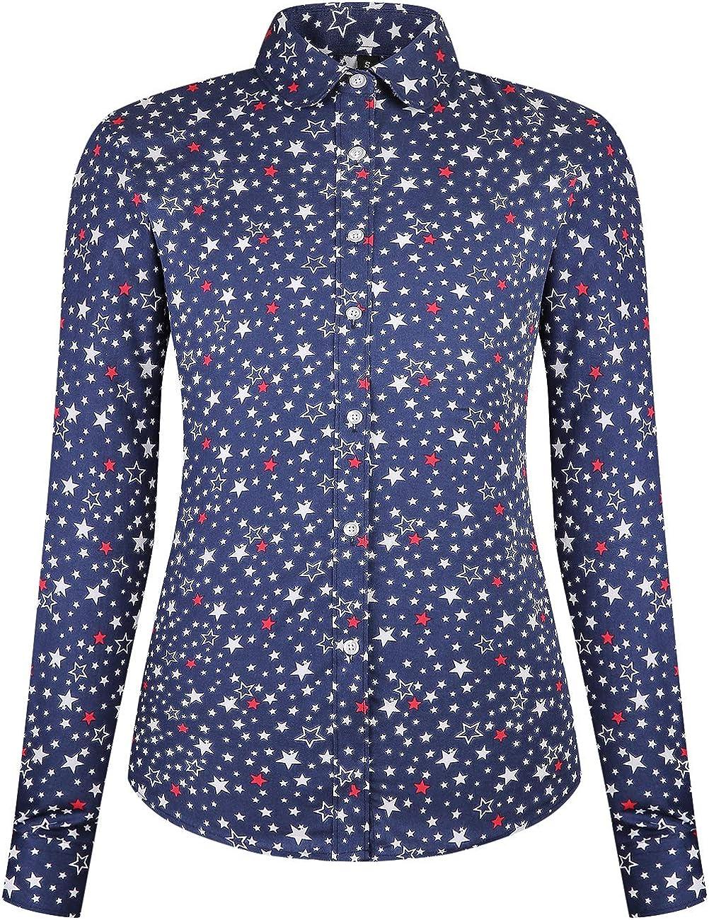 DOKKIA Women's Tops Casual Shirt Long Sleeve Polka Dot Button Down Work Dress Blouses