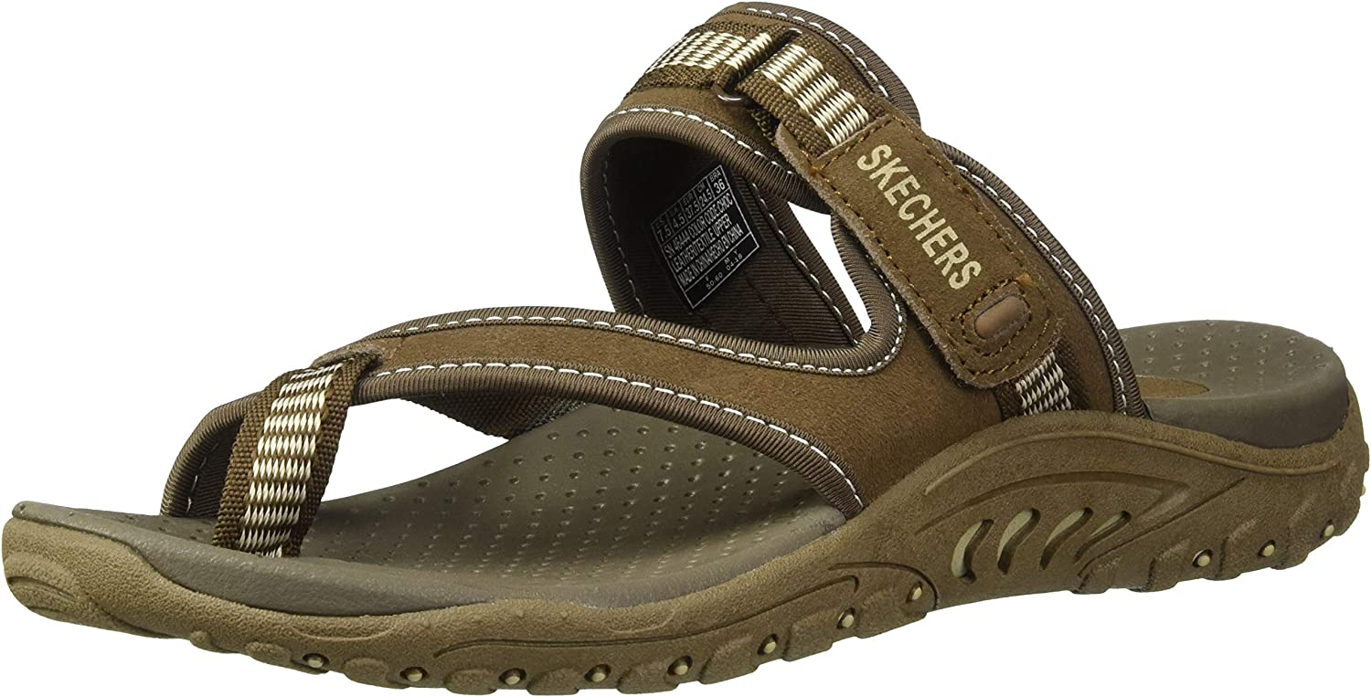 Skechers Women's Reggae-Rasta Thong Sandal, Chocolate, 6 M US