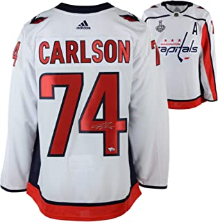 85327b3b6e8 John Carlson Washington Capitals 2018 Stanley Cup Champions Autographed  White Adidas Authentic Jersey with 2018 Stanley