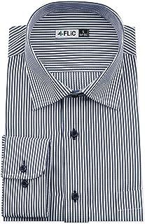 FLiC ワイシャツ メンズ 長袖 形態安定 20種類 選べるサイズ ホリゾンタル ボタンダウン レギュラーカラー 織柄 デザイン豊富/nh