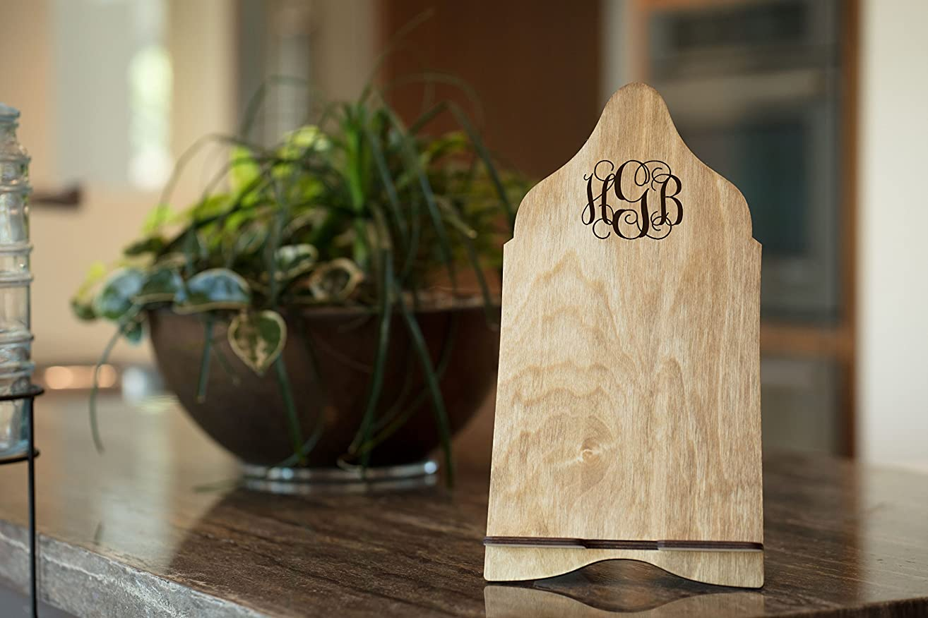Personalized iPad Stand Cook Book Holder - Fancy Monogram