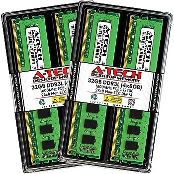 A-Tech 32GB (4x8GB) DDR3/DDR3L 1600 MHz PC3L 12800 DIMM Desktop RAM Kit | 2Rx8 1.35V Low Voltage 240-Pin Non-ECC Unbuffered Memory Upgrade Modules